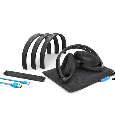 Accessories of Black Flex Sport Wireless Bluetooth Headphones Including Adjustable Tension Headbands, Carrying Pouch, and USB Cable