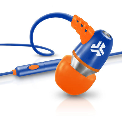 Neon Earbuds in orange and blue