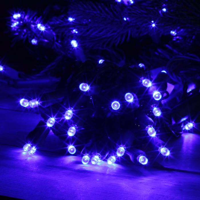 50 Blue Wide Angle LED Green Wire 6 Inch Spacing