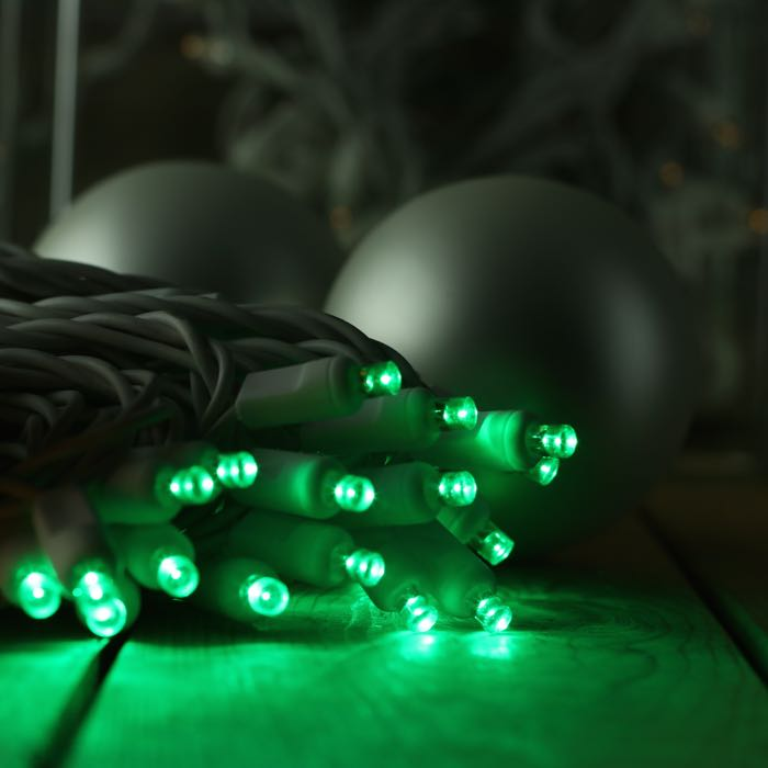 50 Green Wide Angle LED White Wire