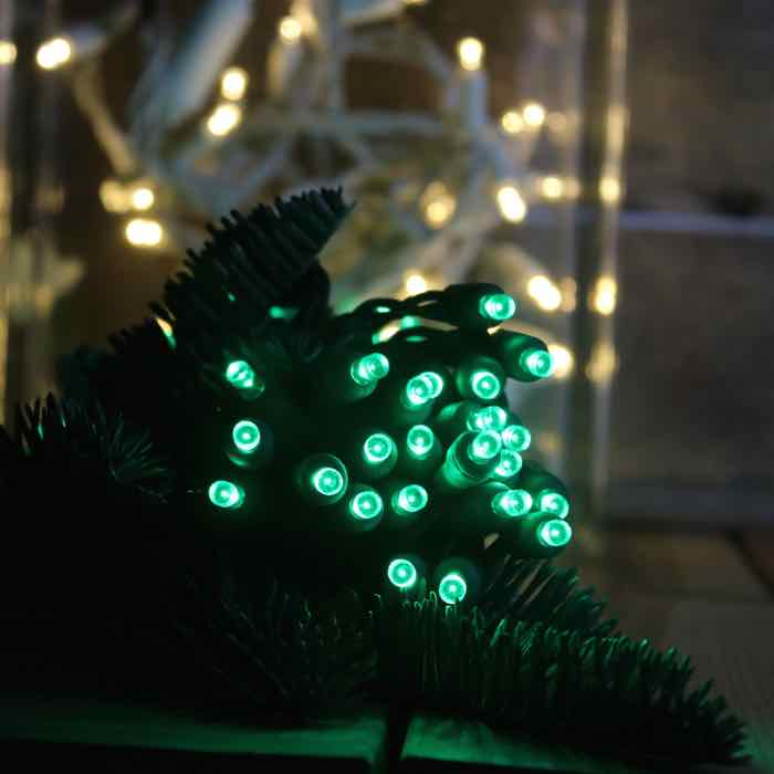 50 Green Wide Angle LED Green Wire 6 inch spacing