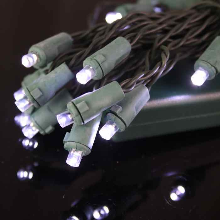 battery powered led christmas lights conical pure white green wire