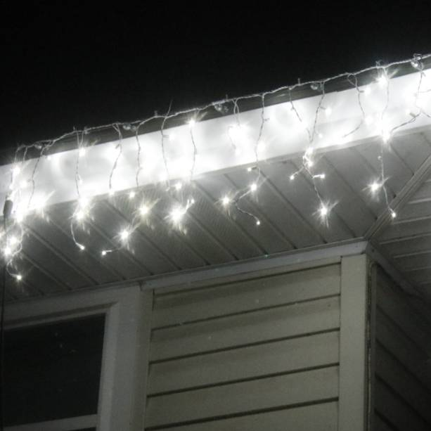 Pure White 5mm LED Icicle Lights White Wire