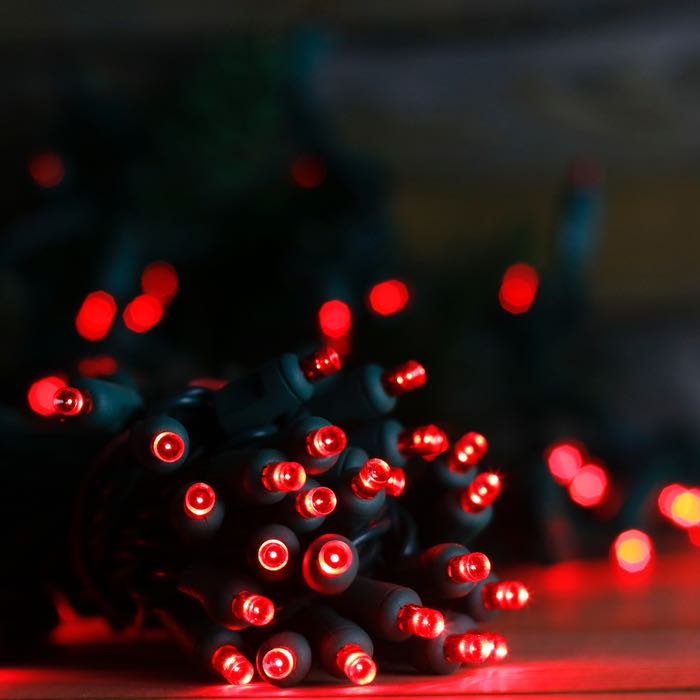 50 red wide angle led christmas lights green wire tap to expand - Red And Green Led Christmas Lights
