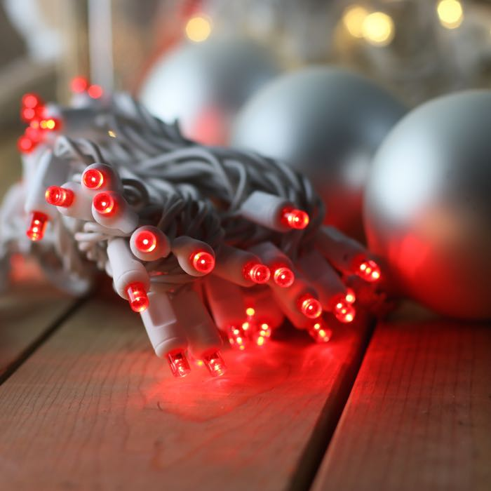 50 Red Wide Angle LED Christmas Lights White Wire