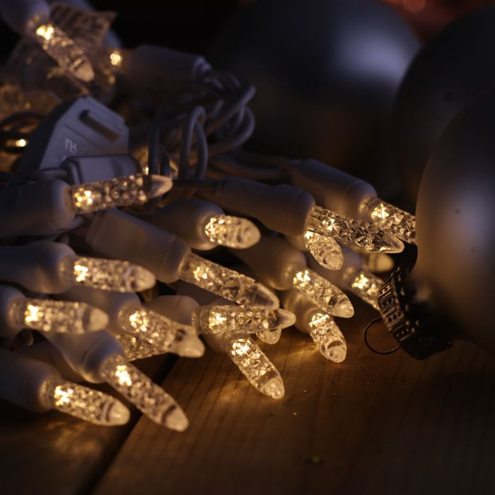 m5 warm white led christmas lights on white wire