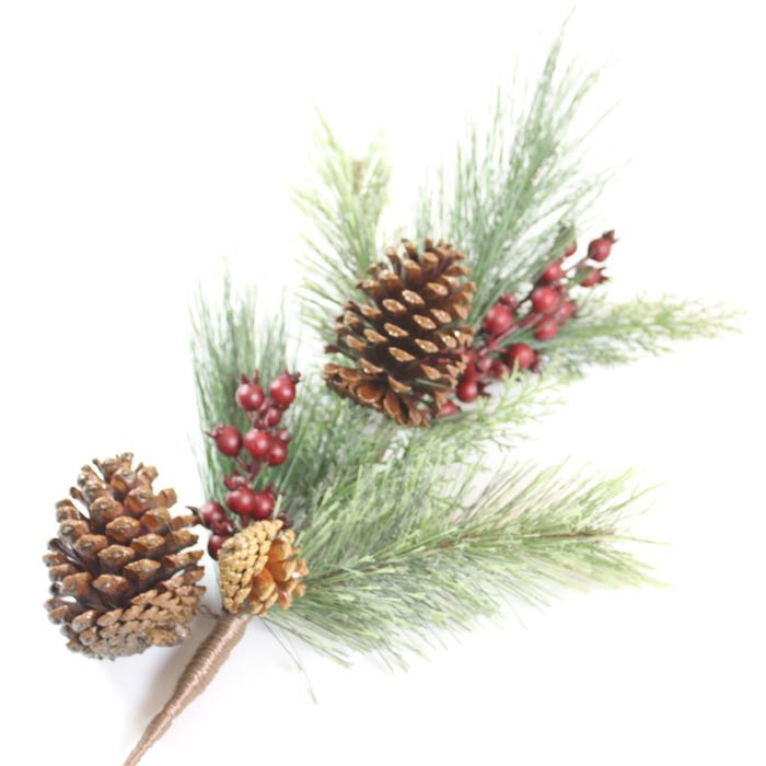 Pinecone and Berry Decorative Spray Pick