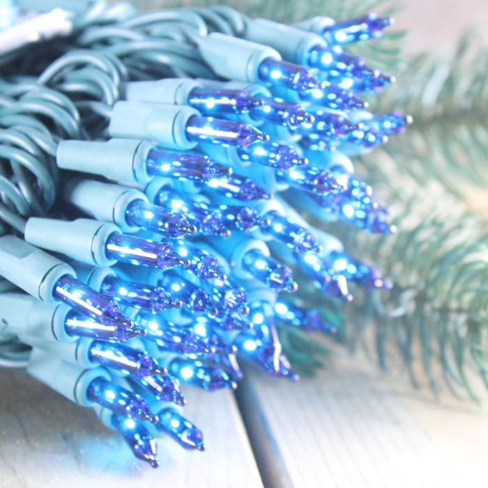 50 Blue Mini Lights 4 inch Green Wire