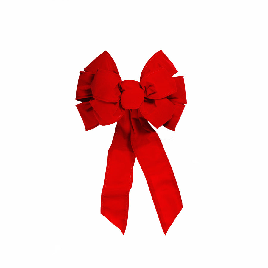 Red Velvet Bow 10 inch x 18 inch  Deluxe Double Layer