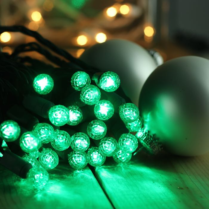 50 Round G12 Green LED Christmas Lights