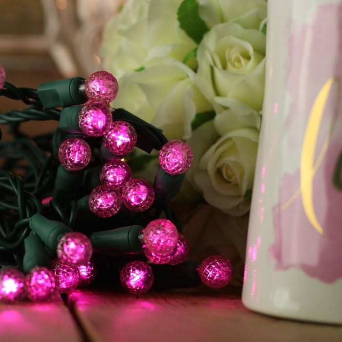 Round Pink LED Christmas Lights