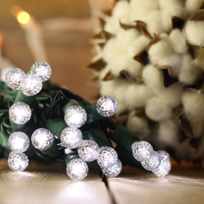 50 Round G12 Pure White LED Christmas Lights