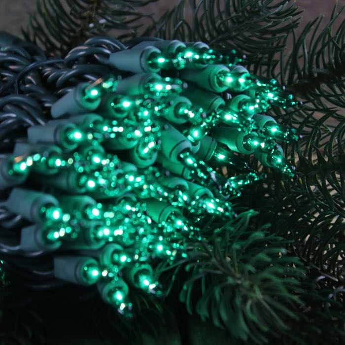100 Green Mini Lights 6 inch Green Wire