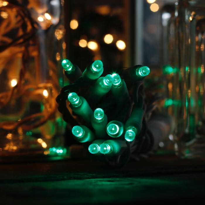 20 green 5mm LED craft lights green wire