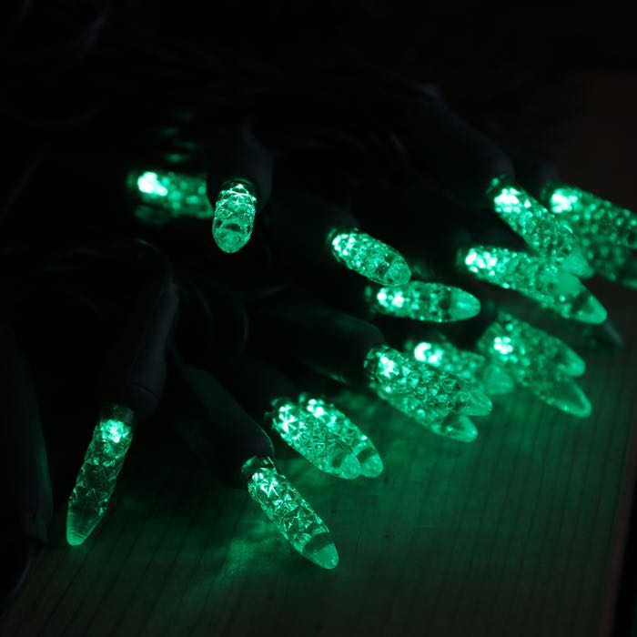 50 Green M5 LED Christmas Lights on Green Wire