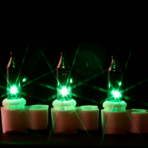 100 Green Mini lights with 3/16 inch Clips White Wire