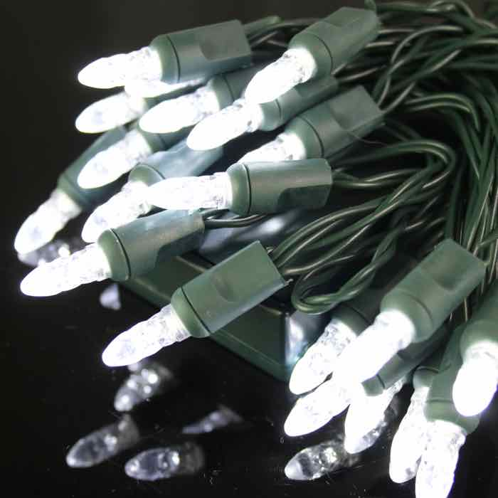 Battery Powered Led Christmas Lights M5 Pure White Green Wire