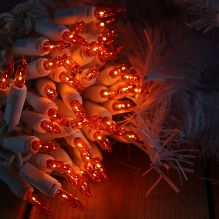 50 Orange Mini Lights 2.5 inch spacing on white wire