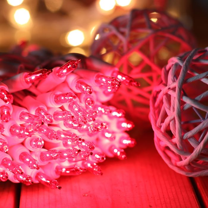 100 Pink Mini lights with clips 2.5 inch White Wire