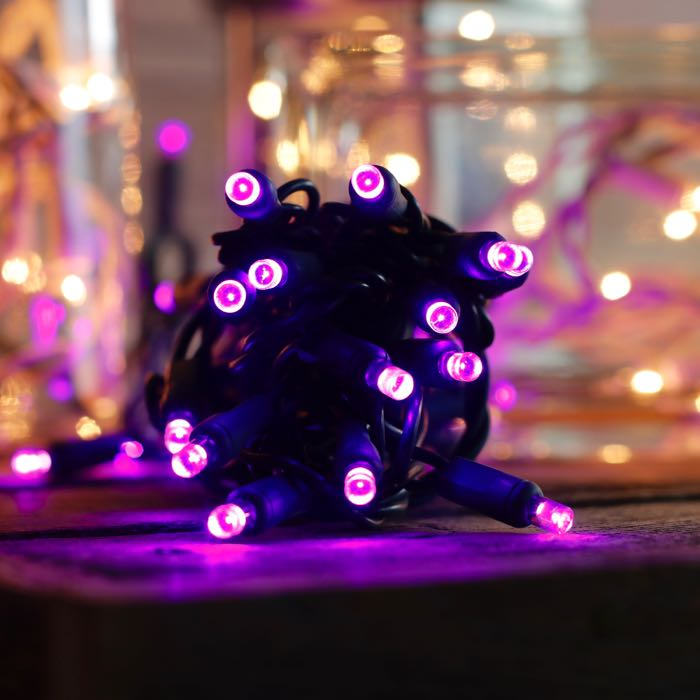 20 purple 5mm LED craft lights green wire