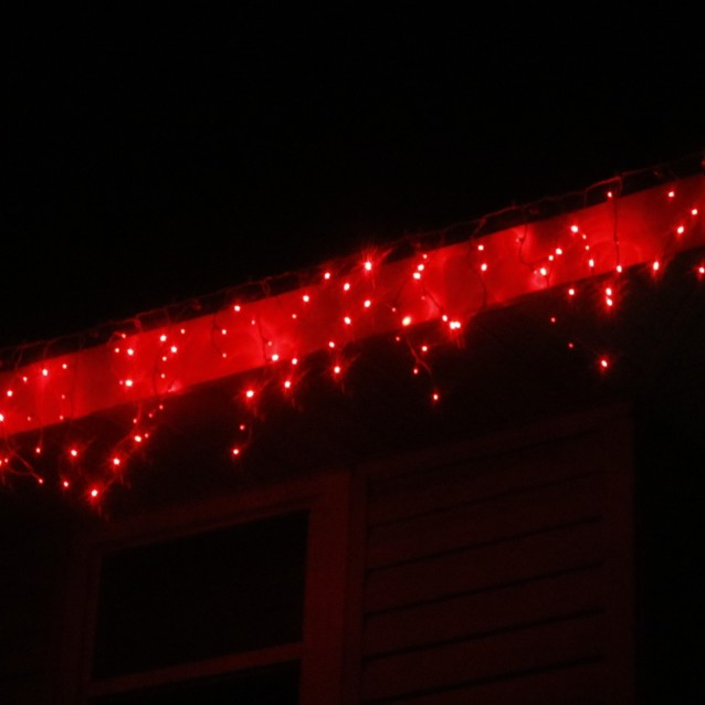 Red Wide Angle LED Icicle Lights White Wire