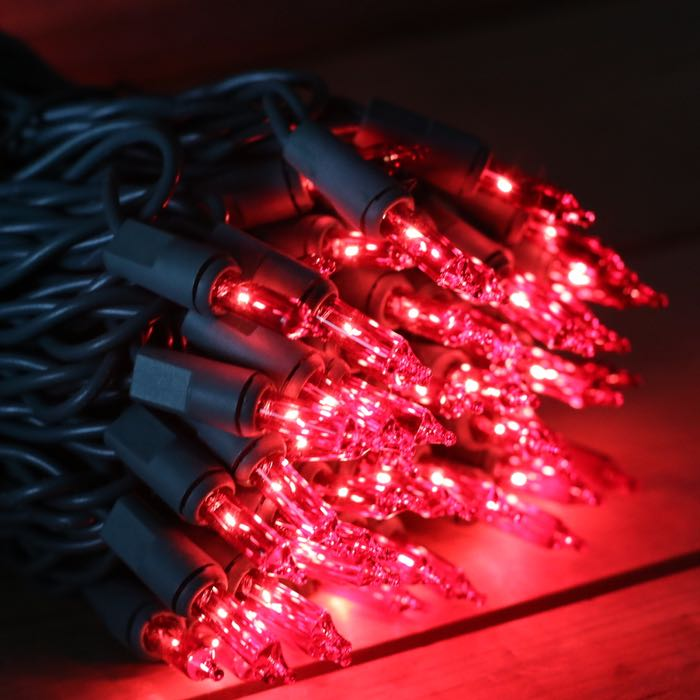 100 Red Mini Lights 4 inch Green Wire
