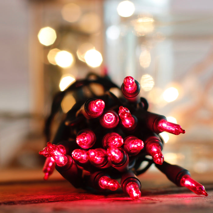 15 Red mini lights 3 inch spacing green wire 36 inch lead