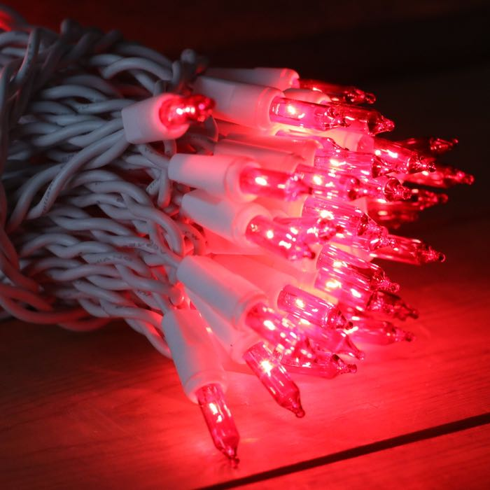 50 Red Mini Lights 2.5 inch White Wire