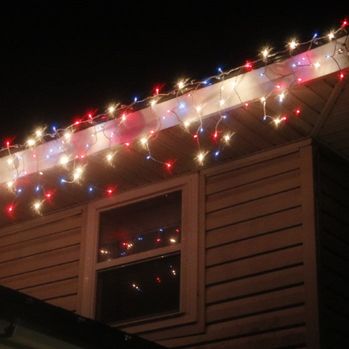 Red Clear Blue Icicle Lights White Wire