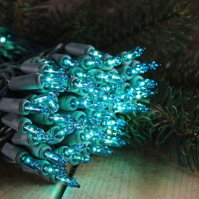 100 Teal Mini Lights 6 inch Green Wire