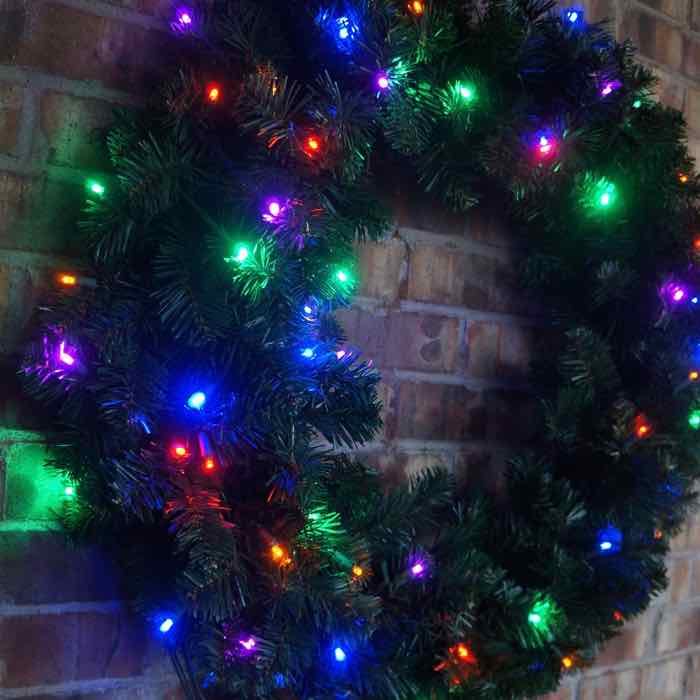 Led Multi Pre Lit Christmas Wreath 48 Inches