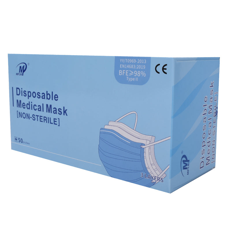 50 pcs Level II Face Mask Medical Surgical Dental Disposable 3-Ply BFE ≥ 98% CE