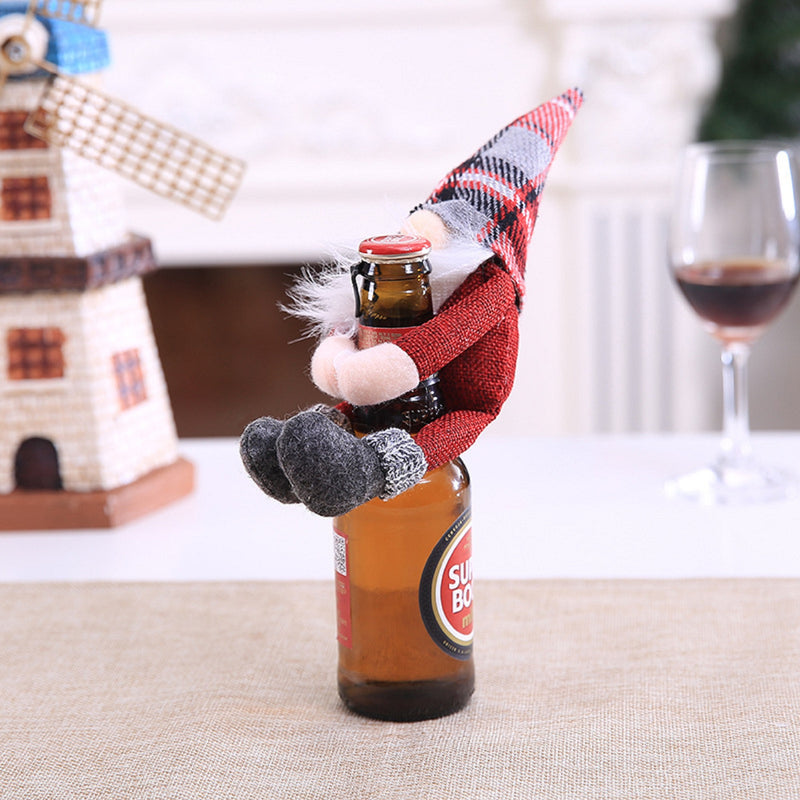 Two pcs Christmas Gnomes Wine Bottle Cover Santa - Handmade Swedish Tomte Plush Gnomes Bottle Toppers - Holiday Christmas Decorations