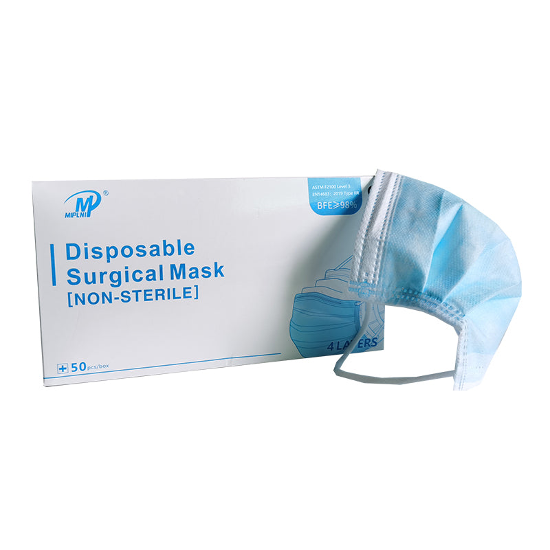50 PCS 4 Ply Disposable Medical Surgical Mask 4 layer BFE≥ 98% Level 3 4ply CE certified
