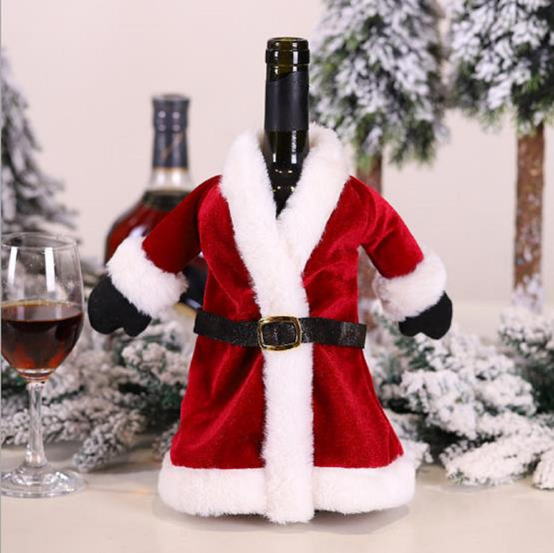 Set of 2 Santa Claus Clothes Red Wine Bottle Covers Bag Christmas Decorations Sweater Bottles Sets Wine Bottle Cover Tab Decor