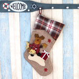"Set of 3 Christmas Stockings Big Size 3 Pcs 18"" Classic Santa Snowman Reindeer Xmas Character Decoration socks gift bags stockings Holder"