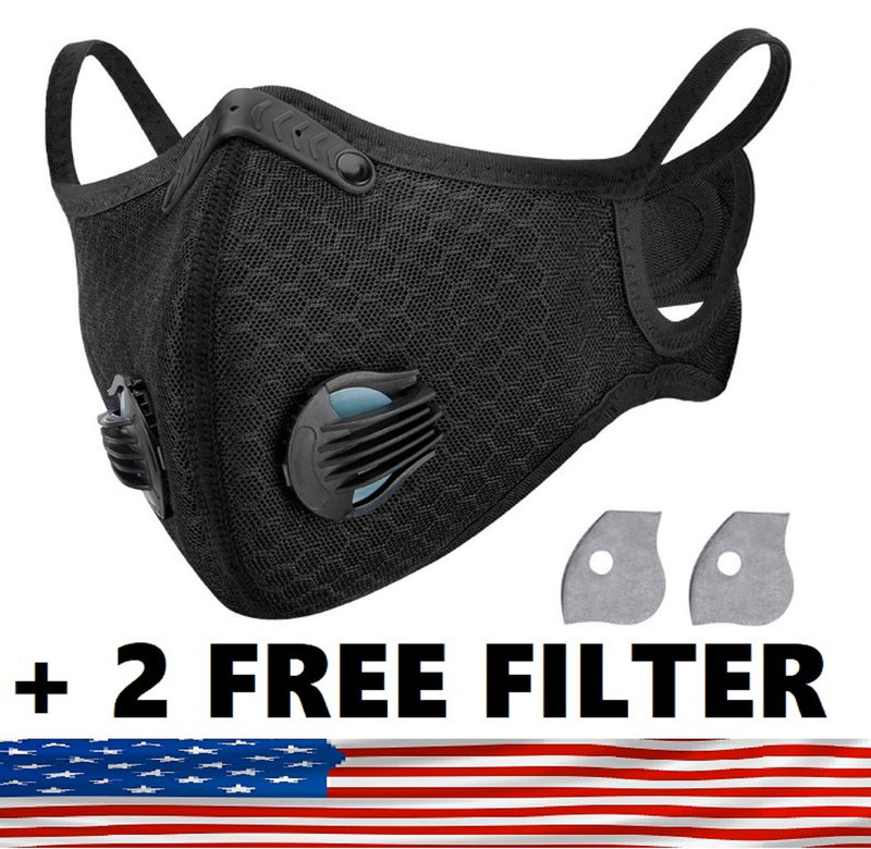 Sport Mask Protective 5 Layer Activated Carbon Filter & Breathing Valve - Reusable and Washable - Nose Clip + 2 Free Filter