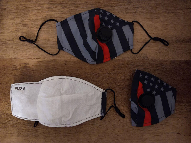 American Face Mask - USA Flag with Protective 5 Layer PM 2.5 Activated Carbon Filter & Breathing Valve + Nose Clip - Reusable - Washable