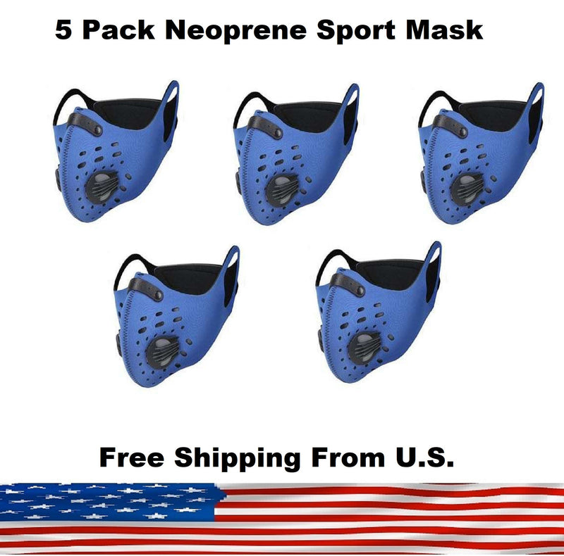 5 Pack Cycling Sport Mask with Protective 5 Layer PM 2.5 Activated Carbon Filter & Breathing Valve - Reusable and Washable - Nose Clip