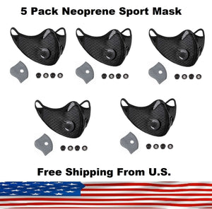 5 Pack Cycling Sport Face Mask with Protective 5 Layer PM 2.5 Activated Carbon Filter & Breathing Valve - Reusable and Washable - Nose Clip