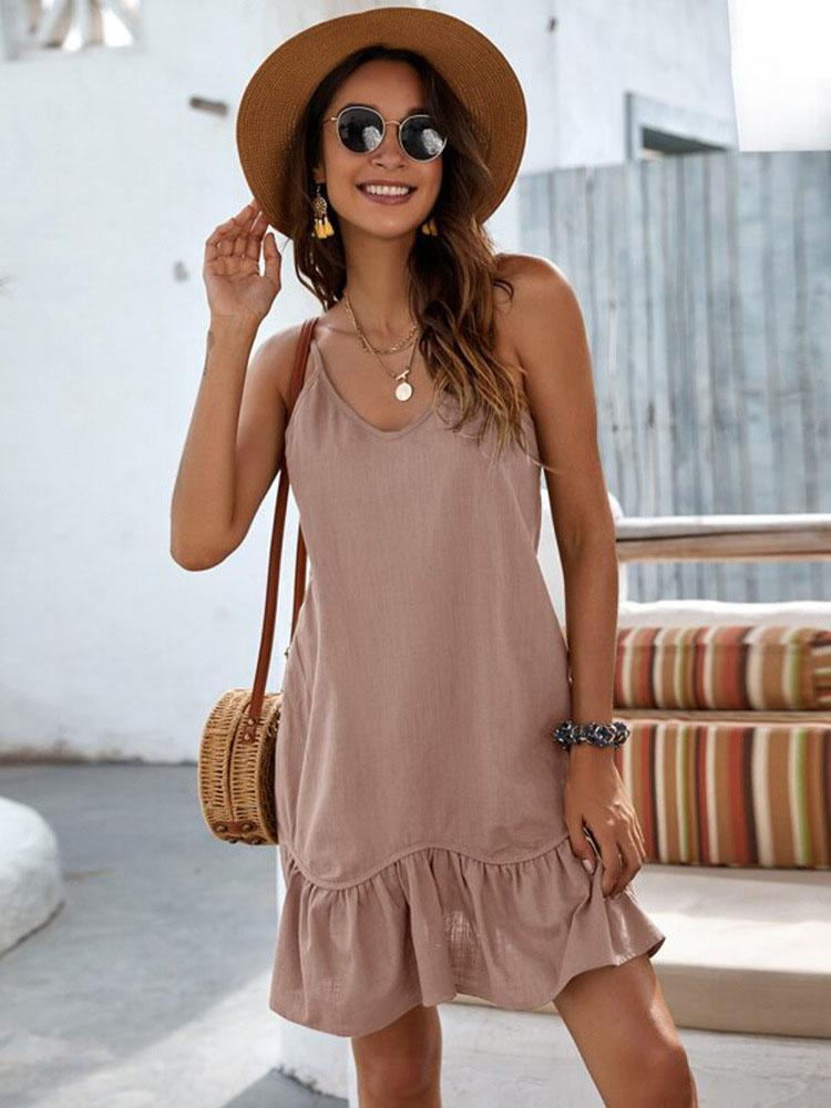 Drop Waist Ruffle Hem Solid Cami Dress