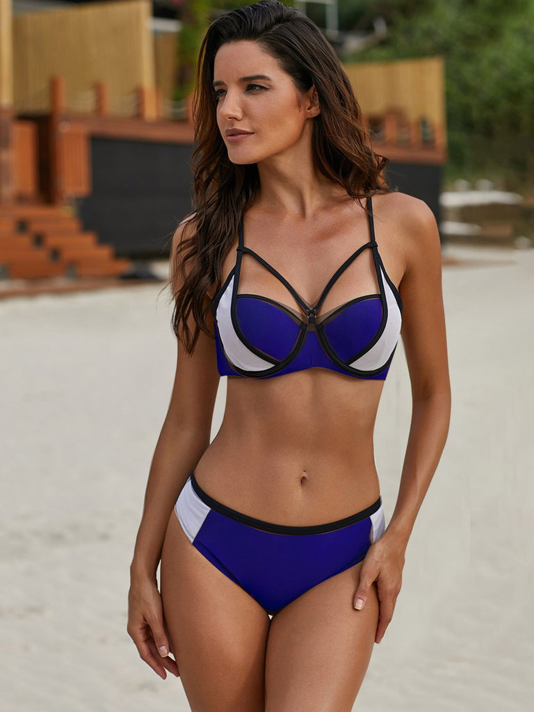 Fashion Sling Stitching Split Bikini