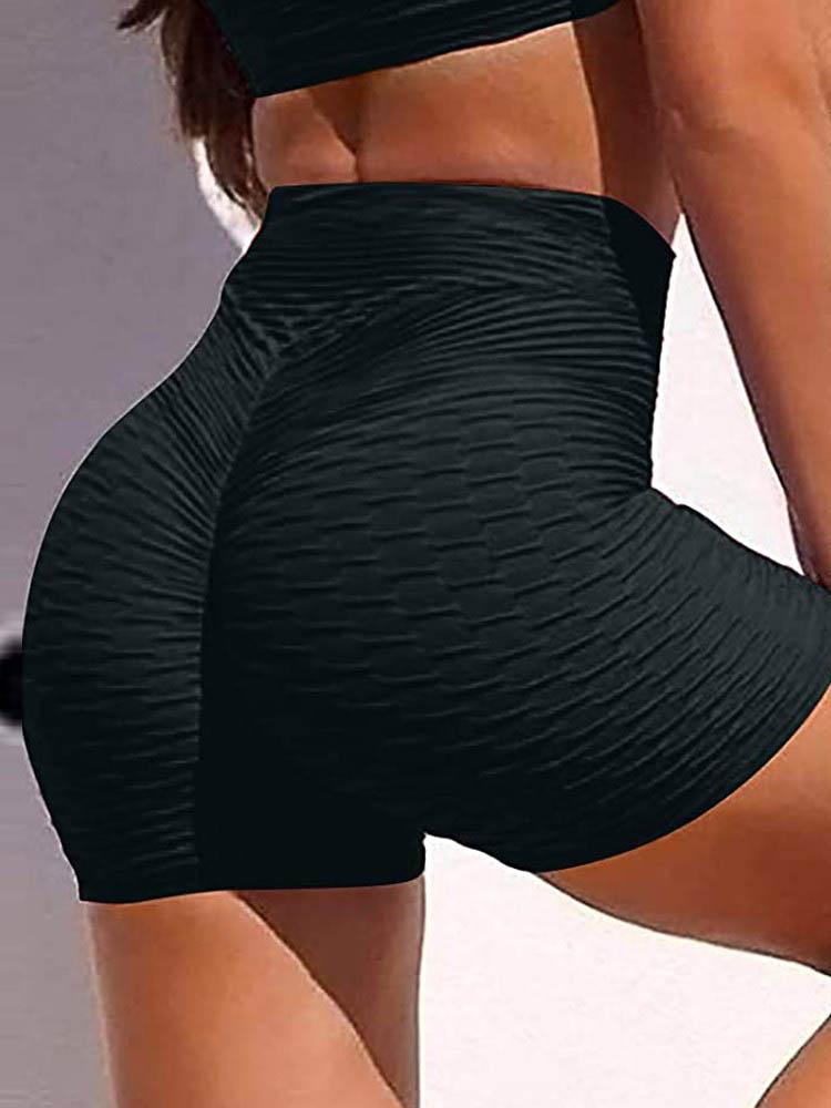 High Waisted Yoga Leggings Running Sports Fitness Gym Bubble Textured Butt Lifting Shorts