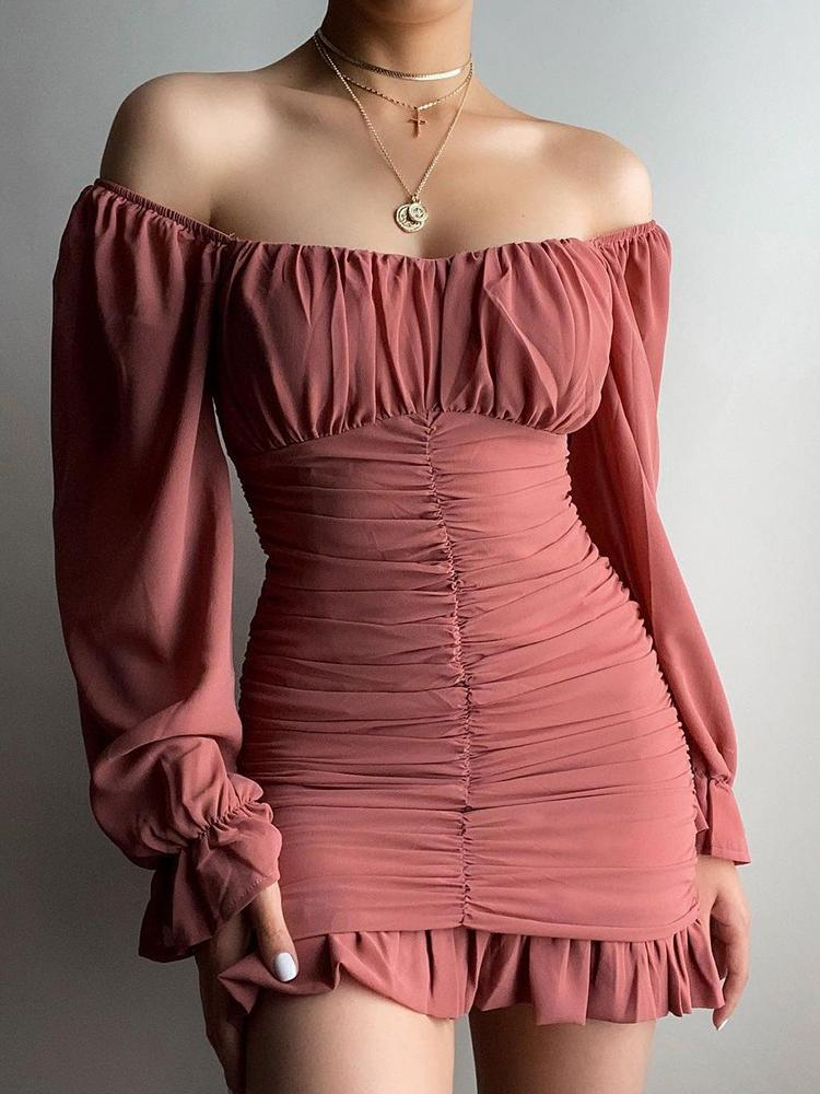 Off Shoulder Ruched Bell Sleeve Ruffles Dress