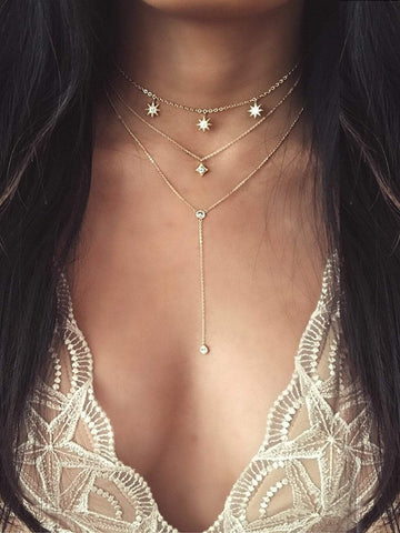 Star Detail Lariats Layered Necklace