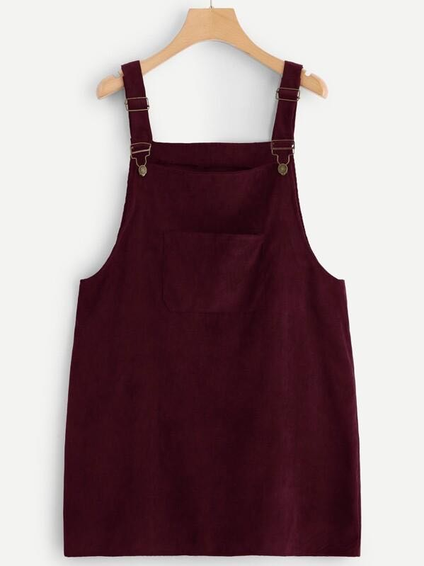 Plus Pocket Front Cord Overall Dress