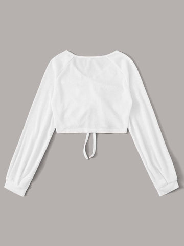 V-neck Drawstring Front Crop Top