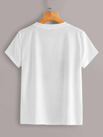 Figure & Letter Print Round Neck Tee