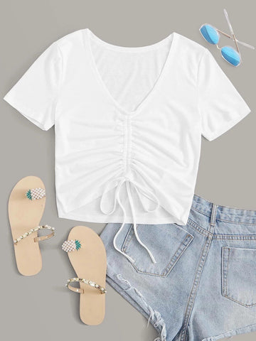 Drawstring Ruched Solid Crop Tee