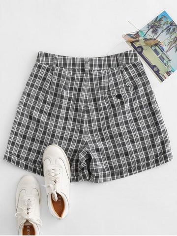 Cuffed Plaid Shorts